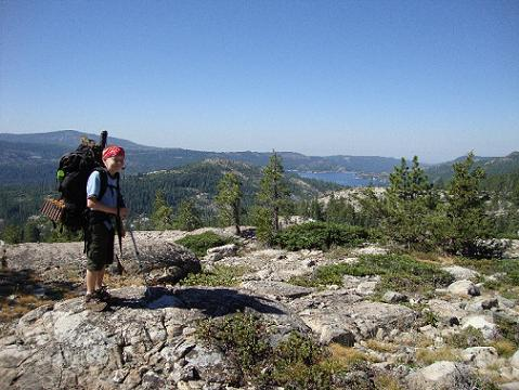 Kyle Smith, from Roseville Boy Scout Troop # 1 on a 50 mile backpacking trip on Grouse Summit