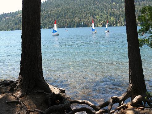 Sailing Boats viewed from Shoreline Park at Donner Lake in Truckee, California
