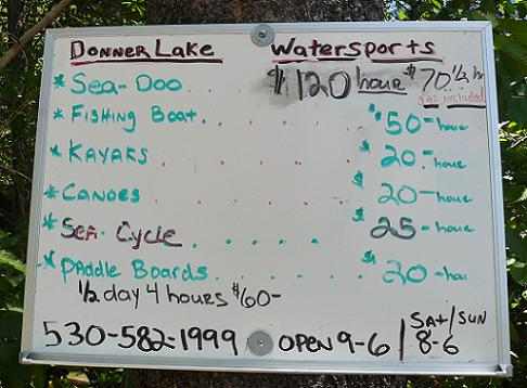 Boating Pricing at Donner Memorial State Park in 2011