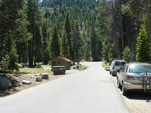 China Cove Beach Restrooms and Parking area at Donner Memorial State Park in Truckee, CA
