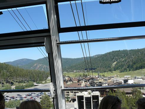 On the Squaw Valley Cable Car looking down on Olympic Valley, CA