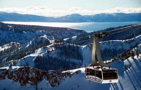 Squaw Valley Cable Car in Winter. Located in Olympic Valley, CA