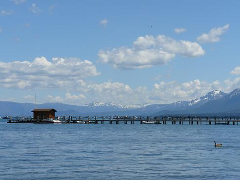 Piers to the right of Commons Beach in Tahoe City at Lake Tahoe