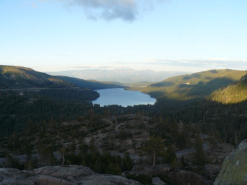 Donner Lake as viewed from the Old Hwy 40 rest area in Truckee, CA