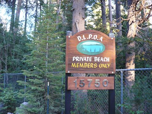 Donner Lake Property Owners Beach Entrance in Truckee, California