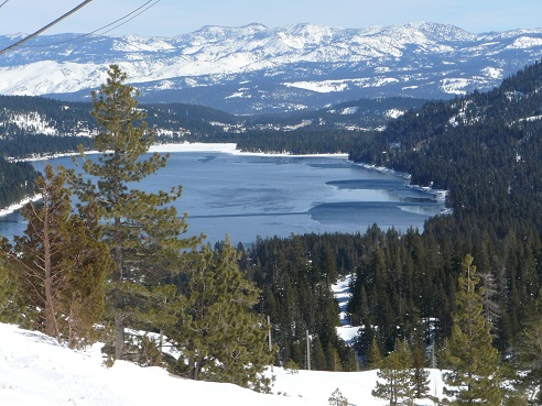 Donner Lake in Truckee, CA from Rainbow Bridge on old Hwy 40