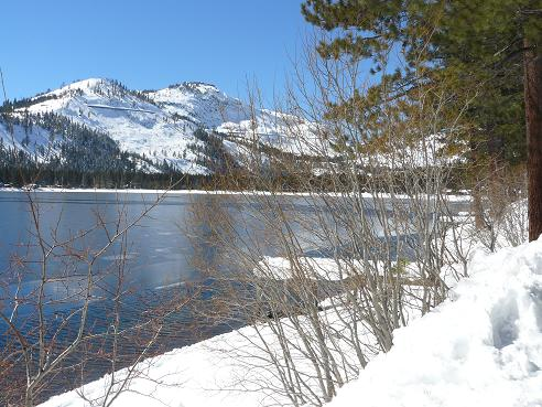 Donner Lake in winter in Truckee California