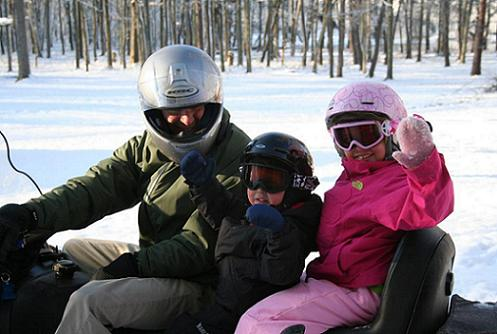 Gary Blackden and Kids Snowmobiling