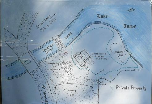 Map layout for the William B. Layton Park and Gatekeeper's Museum in Tahoe City