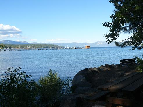 The view from the bak of William B. Layton Park in Tahoe City where the Gatekeeper's Museum is located.