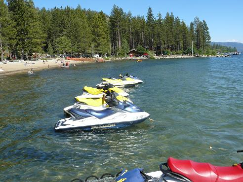 Jet Ski's available for rent at the Kings Beach State Recreation Area in Kings Beach at Lake Tahoe