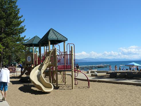 Playground area at the Kings Beach State Recreation Area in Kings Beach, CA at Lake Tahoe