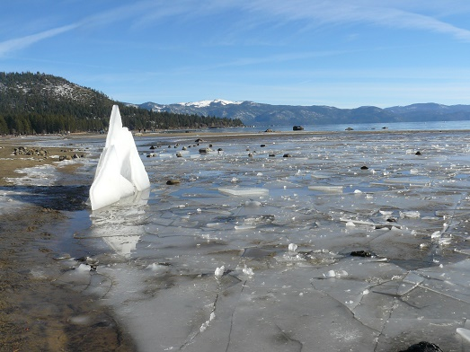 Ice Sculpture built on the beach area in Kings Beach, CA at Lake Tahoe, CA