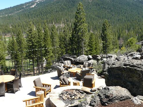 Outside seating area at the Camp Lodge at Martis Camp, in Truckee, California