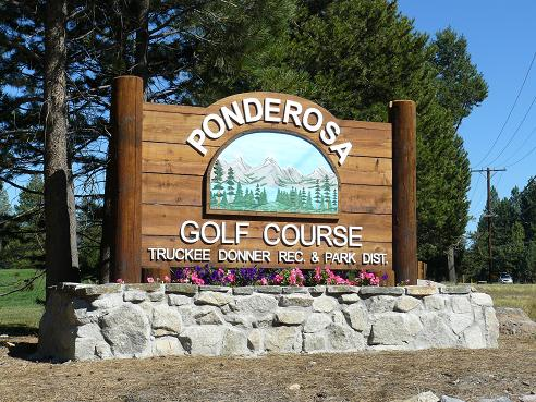 Ponderosa Golf Course sign in Truckee, CA