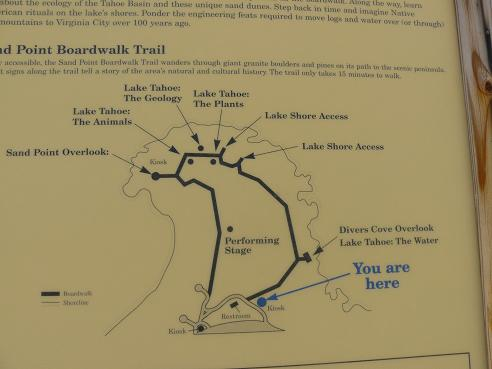 Map of the amenities at Sand Harbor State Park at Lake Tahoe, Nevada