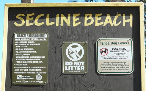 Secline Beach Rules in Kings Beach, CA at Lake Tahoe