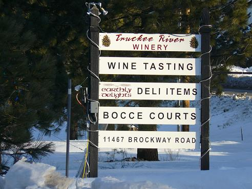 Truckee River Winery Sign in Truckee California
