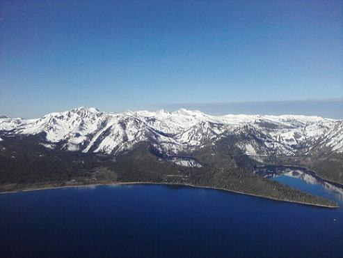 Emerald Bay and Cascade Lake at Lake Tahoe seen from a Hot Air Balloon