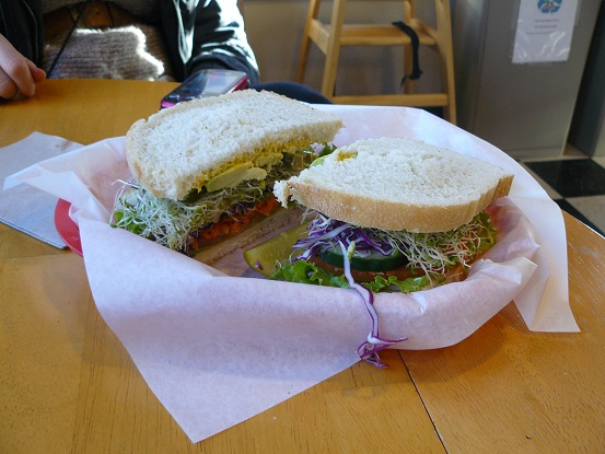 Veggie Sandwich on Truckee Sourdough Co. bread from Old Gateway Deli on Church Street in Truckee, CA