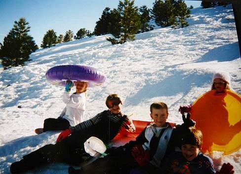 Kids sledding in Truckee, California