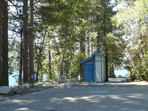 Shoreline Park Parking Lot and Restrooms at Donner Lake in Truckee, California