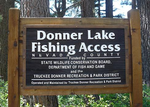 Shoreline Park Fishing Sign at Donner Lake in Truckee, California