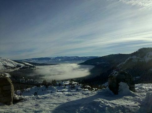 Donner Lake in Truckee, California fogged in.