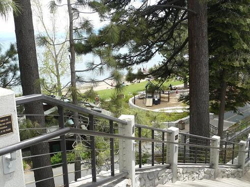 Stairs to Commons Beach in Tahoe City at Lake Tahoe