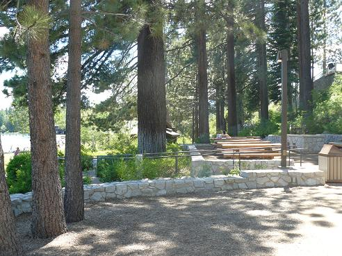 Group picnic area at Commons Beach in Tahoe City at Lake Tahoe