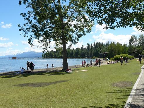 Commons Beach Park at Tahoe City, CA at Lake Tahoe