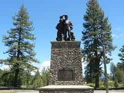 Emigrant Monument by the Emigrant Trail Museum in Donner Memorial State Park in Truckee, CA