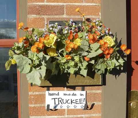 Flowers outside of Moody's Restaurant in Truckee, California