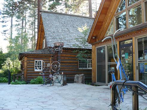 Patio are and Bike Art at the Gatekeeper's Museum in William B. Layton Park in Tahoe City, CA