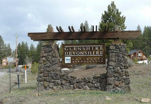 The Glenshire Devonshire Neighborhood Entry Sign in Truckee California