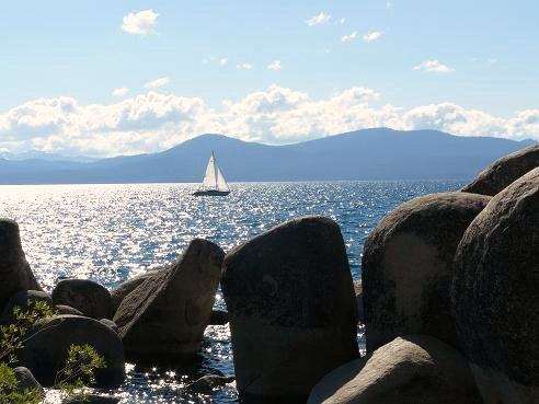 Lake Tahoe Sailing as viewed from Sand Harbor State Park