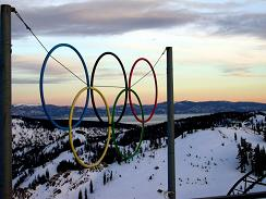 Olympic Rings at High Camp Squaw Valley where the Olympic Museum is