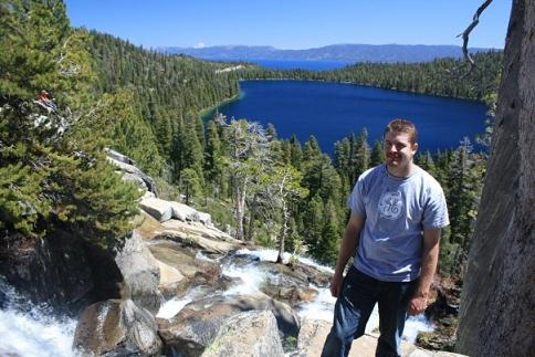 Ryan at Cascade Creek Falls Trail overlooking Cascade Lake and Lake Tahoe, California