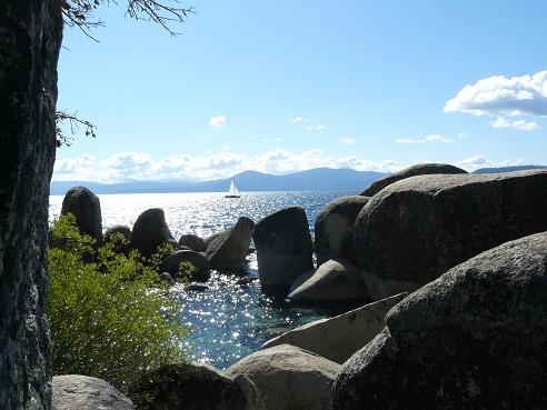 A sailing boat on Lake Tahoe as viewed from Sand Harbor State Park in Nevada