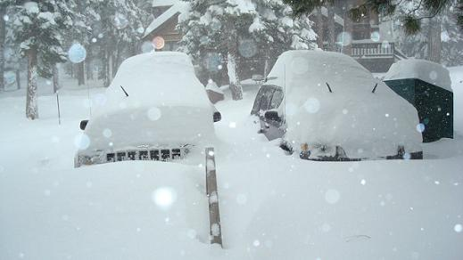 Snowed in Cars in Truckee California