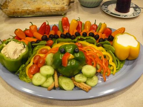 Vegetable Turkey Tray for Thanksgiving Dinner