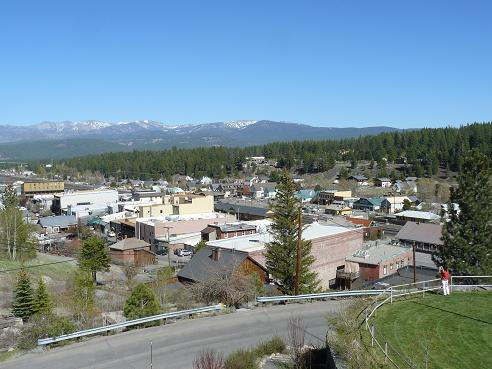 View from the top of the Rocking Stone at the  Veterans Hall in Truckee, California