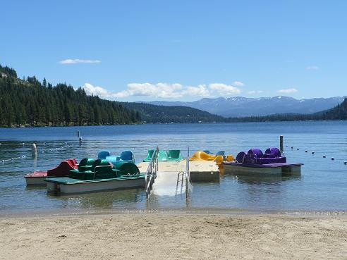 Paddle Boats at West End Beach at Donner Lake in Truckee, California