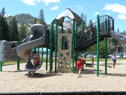 West End Beach playground area at Donner Lake in Truckee, California