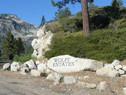 Wolfe Estates sign at Donner Lake in Truckee California